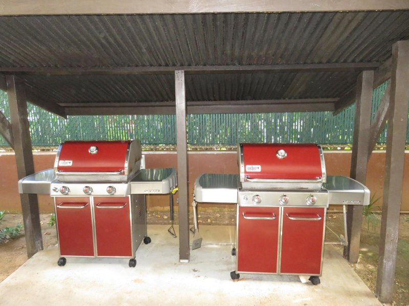 2 BBQs to use across from game room.