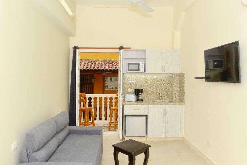 Woonkamer met slaapbank, kitchenette, tv, complete badkamer, en balkon!