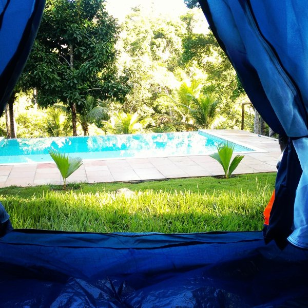 Overlooking pool. Inside the tent.
