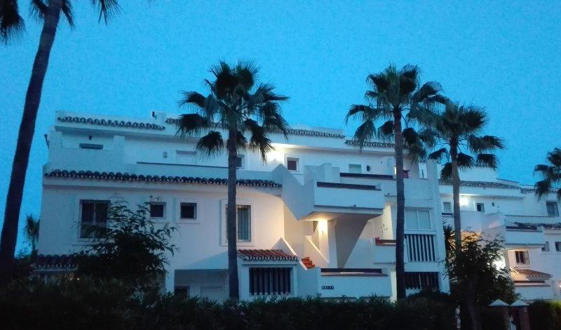 Sol Penthouse facade illuminated