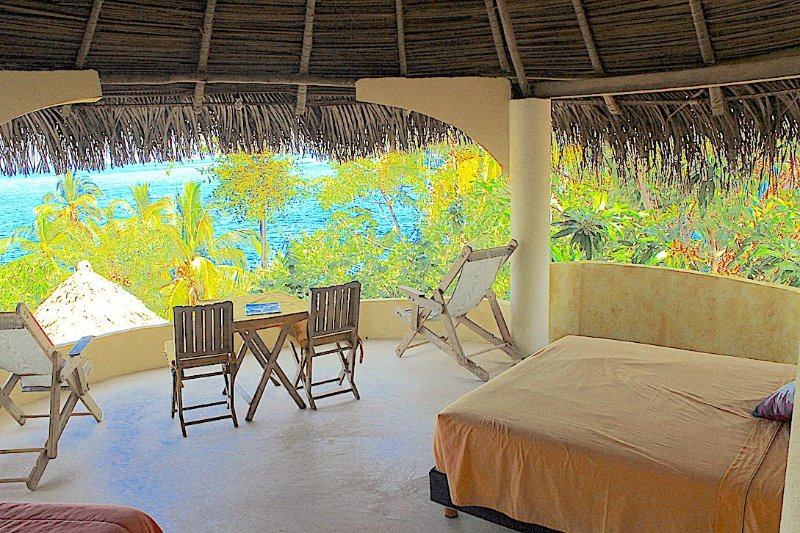 Open air, spacious, 2 queen room with spectacular views of the ocean and jungle