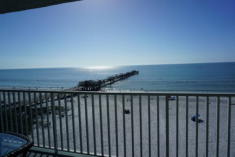 Look to the left from the balcony and you can see the beach, gulf, and pier!