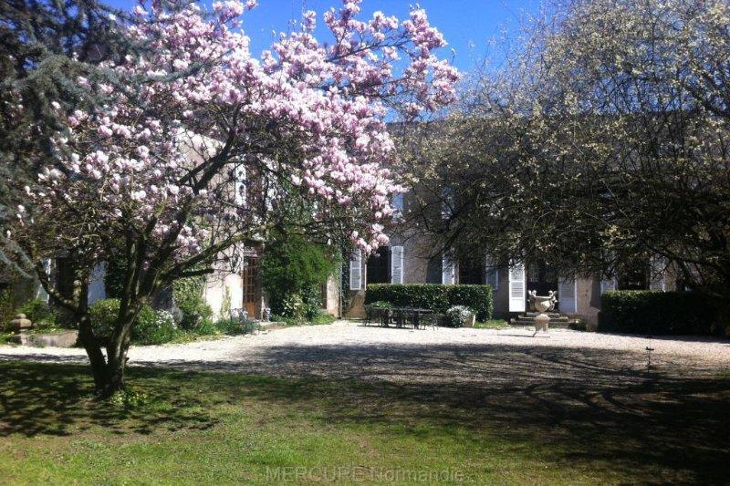 Der große Innenhof mit Garten im Frühjahr mit Magnolienbaum in Blüte