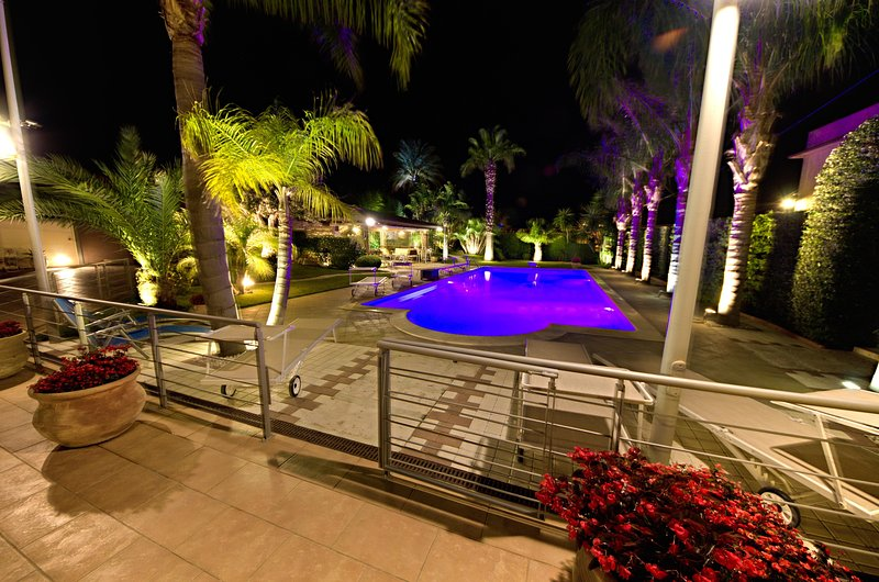 Panorama Villa Palme with Garden and Pool in the Night
