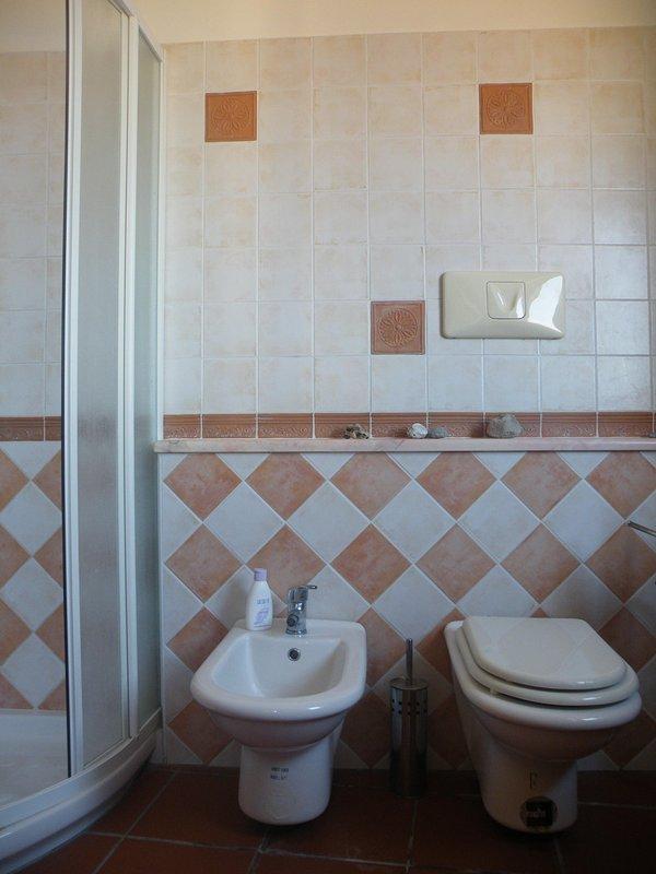 Badkamer met toilet, bidet, wastafel en douche met uitzicht op zee raam