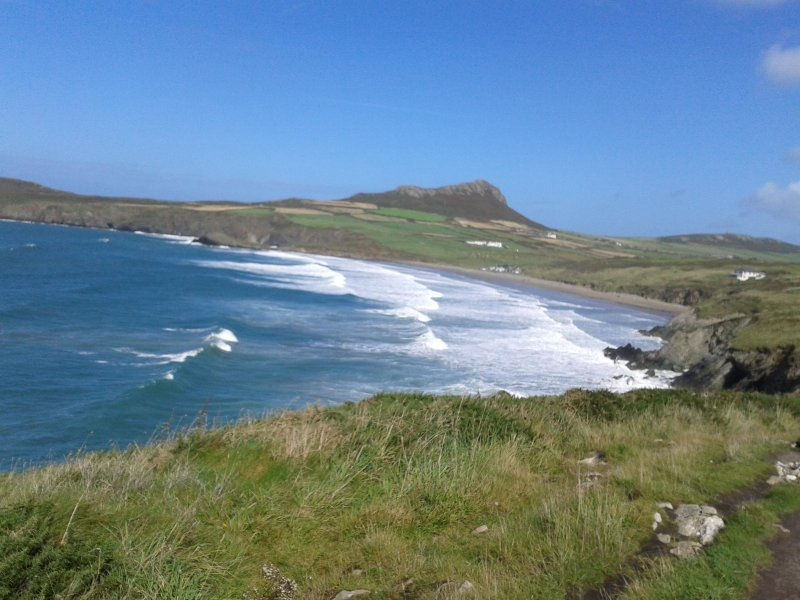 View of Whitesands Beach from the coastal footpath