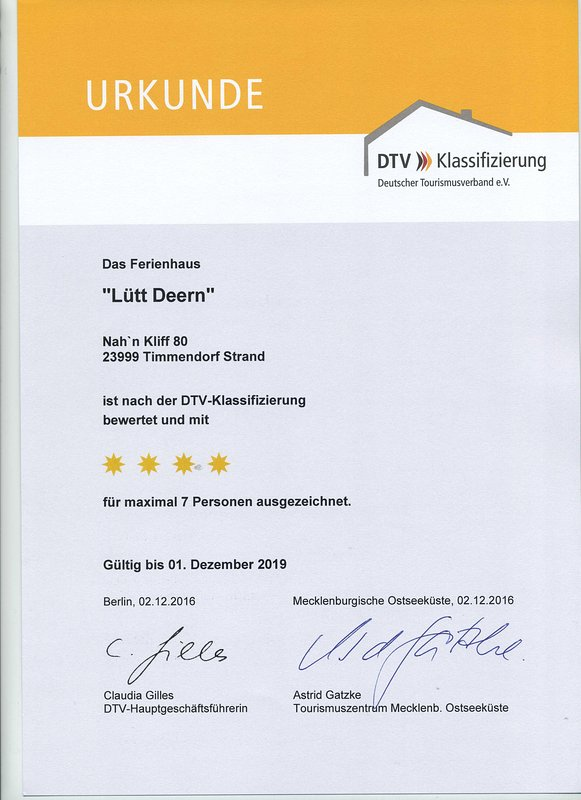 Excellent ****: 4 stars by the German Tourism Association