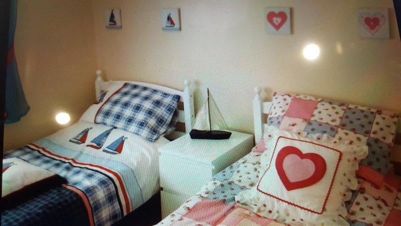 habitación doble con 2 camas individuales. TELEVISIÓN. Vestidor. El almacenamiento y la alfombra y calefacción central.