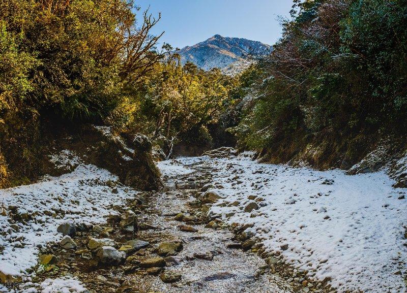 The Kowhai Stream after snowfall