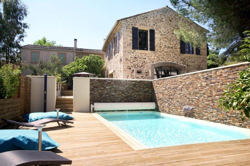 La piscine avec sa cascade, sa terrasse et la maison en arrière plan