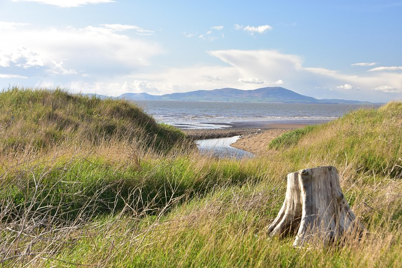 Shot of the beach from the dunes, showing Criffle on the Scottish side of the Solway.