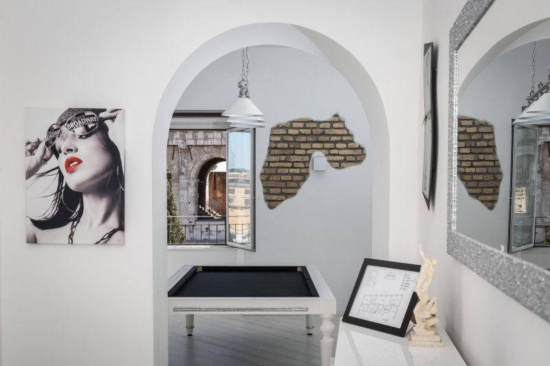 Living room and amazing view of the Colosseum from our windows!