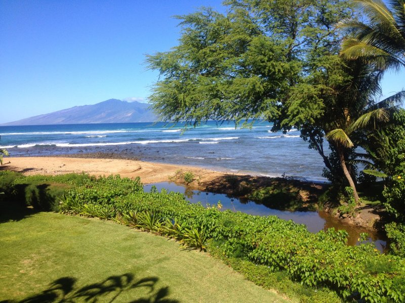 This is the view from our lanai !   The island of Molokai is in the background.  Spectacular!