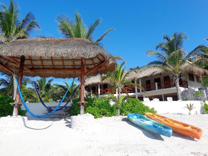 Beach palapa with hammocks, kayaks and beach