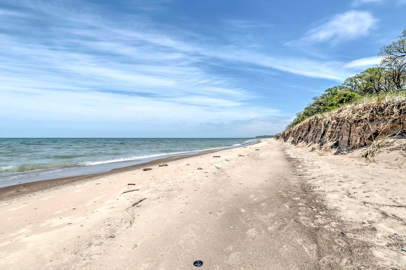 Relax on the peaceful Lake Michigan sands.