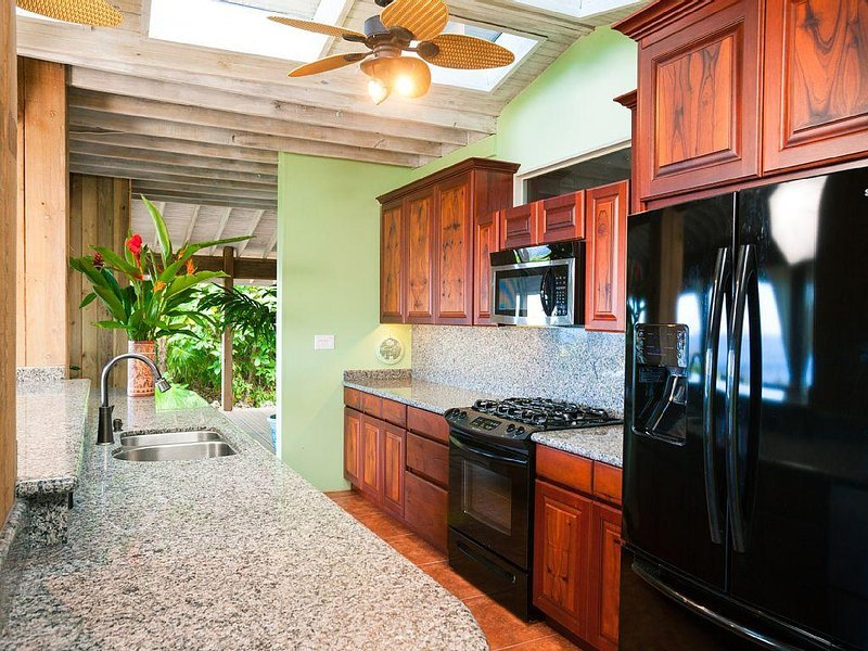 Fully equipped gourmet kitchen with granite counter tops, mahogany cabinetry and top of the line appliances