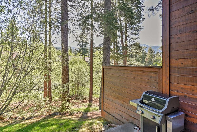 The condo boasts mountain and forest views from the backyard.