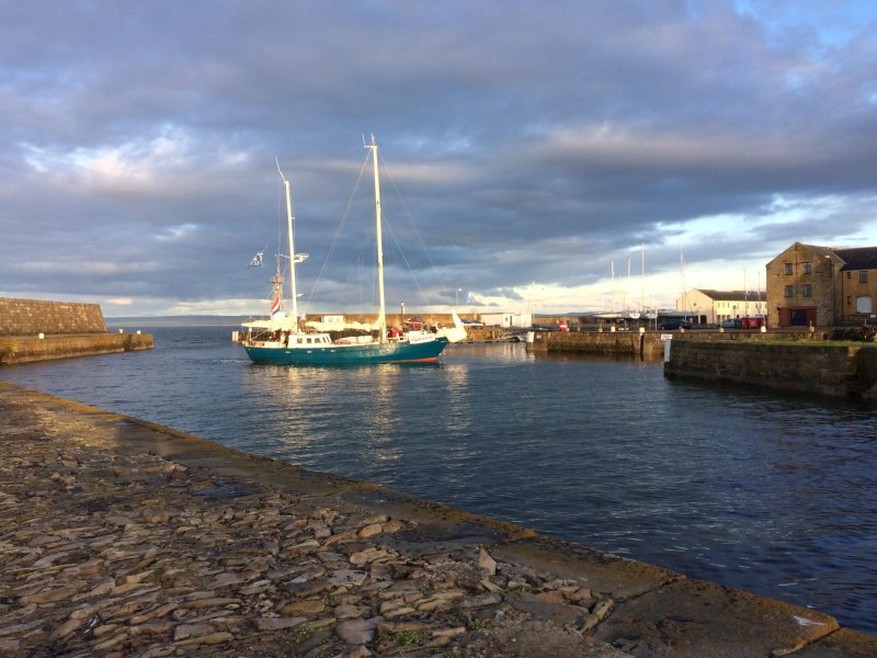 View of Pitgaveny Quay and looking out to sea from the marina - great place for fishing