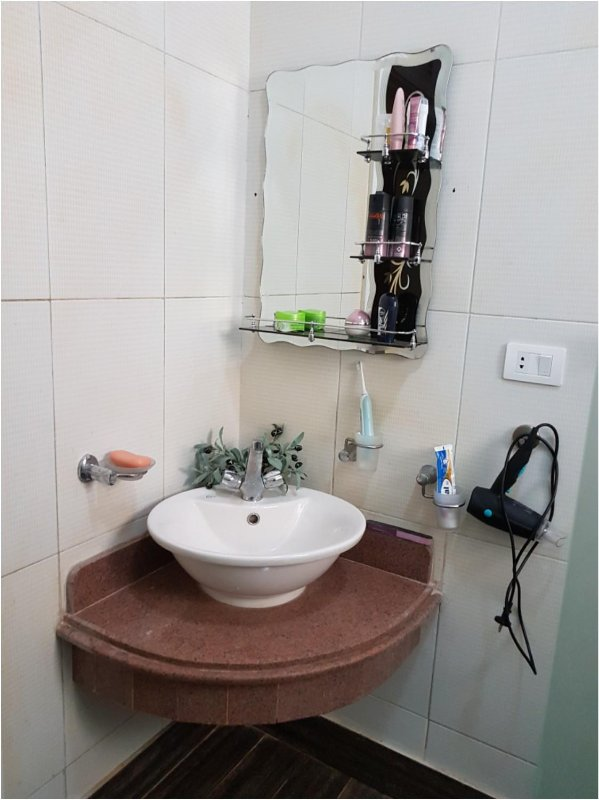 Mirror with shelf and hairdryer