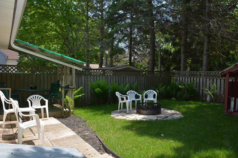 Back Yard has a small covered deck and the yard is surrounded by ferns!!