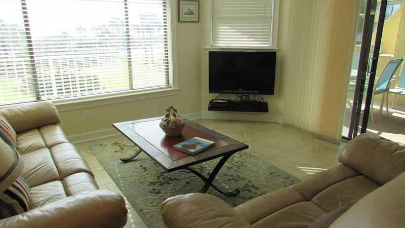Living room showing 40' HD TV with Blue ray CD player