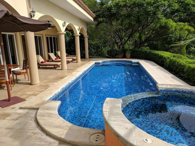 lap pool with solar heated jacuzzi