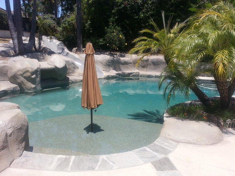 Private unheated pool.  Waterfalls, slide, baja shelf, hot tub