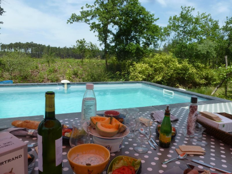 View of the pool (open) on the countryside