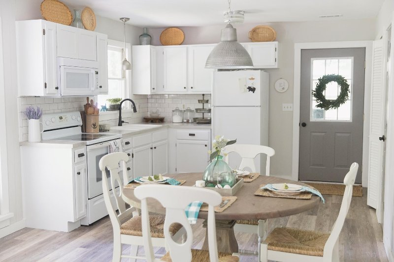 Nicely equipped, light and bright farmhouse styled kitchen for cooking at home
