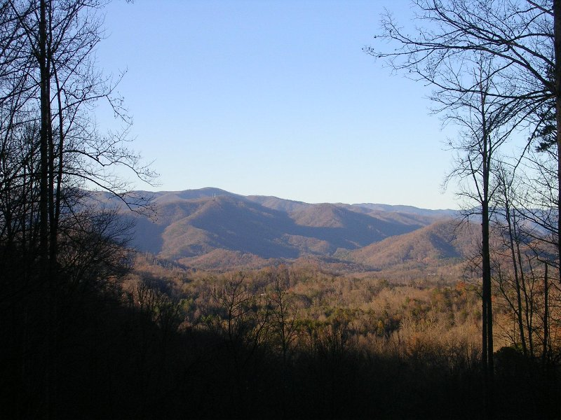 Great Smokey Mountain National Park views from Grand Seclusion deck.