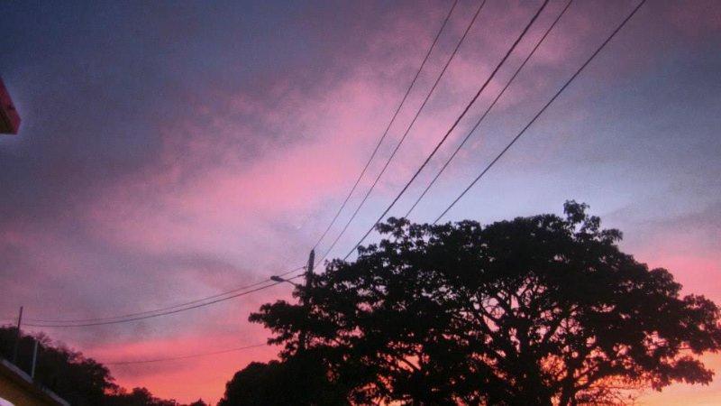 el cielo se posa con el color de la puesta del sol por aquí. Éste fue tomado desde el patio trasero.