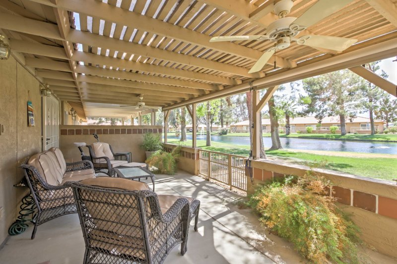Discover the magic of City of Festivals from this 2-bedroom, 2-bathroom Indio vacation rental condo.