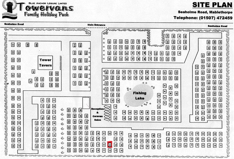 Site map for our caravan on Towervans Holiday park