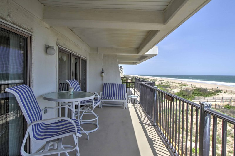 Enjoy ocean views from this beachfront 3-bedroom, 2-bathroom vacation rental condo in Ocean City!