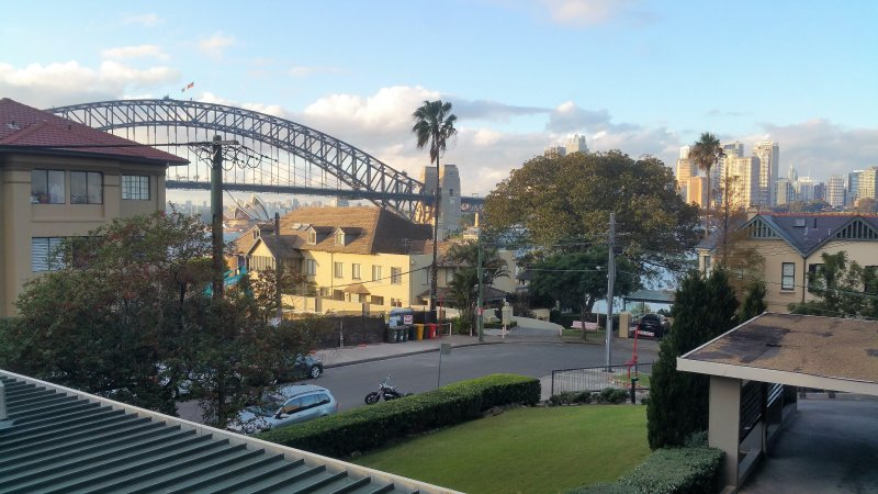 Harbour Bridge and Opera House glimpses from the front door