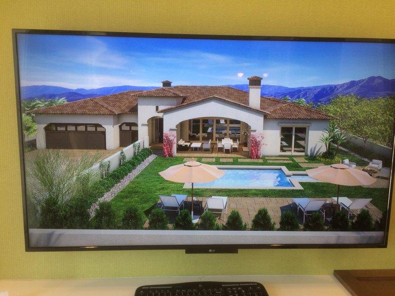 Este es un dibujo del patio y la casa, pero no es una verdadera representación de la jardinería.