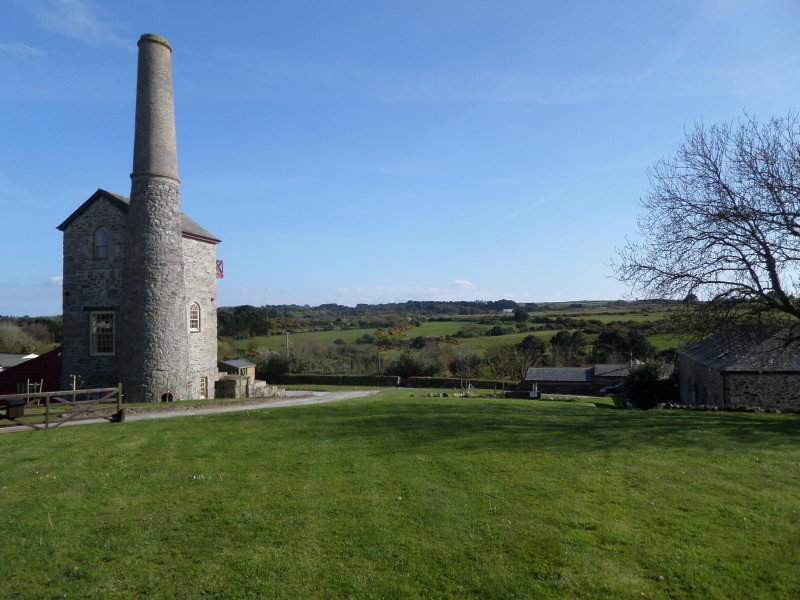 View across valley. Cottages on right. (Engine House on left, not for holiday rental)