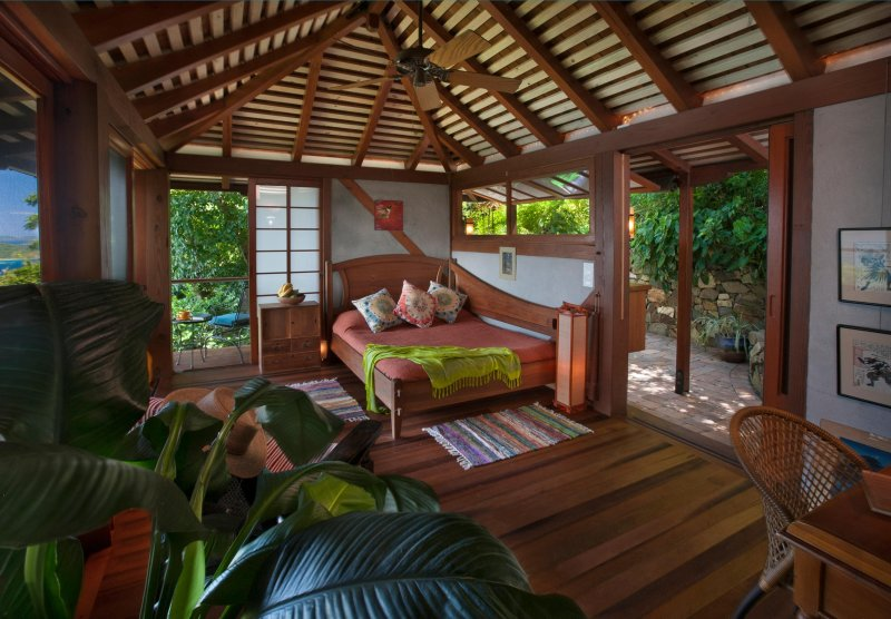 Coral Bay, St. John USVI US Honeymoon/Lovers Vacation Villa: Bedroom View - Teahouse Treehouse
