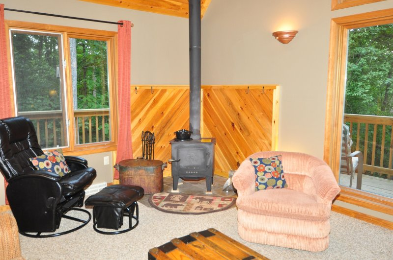 Curl up by the wood stove in the cooler months.
