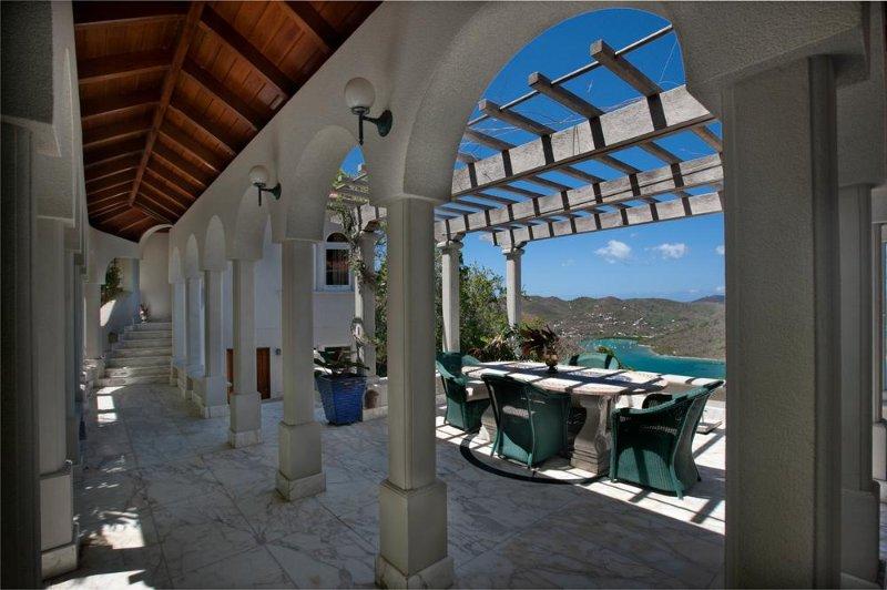 Coral Bay, St. John, VI Luxury Rental Villa: Portico view outdoor seating for 6 - Villa Solemare