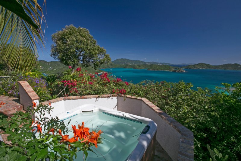 Coral Bay, St. John Magical Villa for Couples or Small Families: Main hot tub view - Astral Ridge