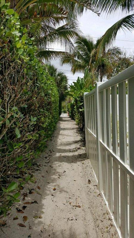 Private beach access across Estero Blvd