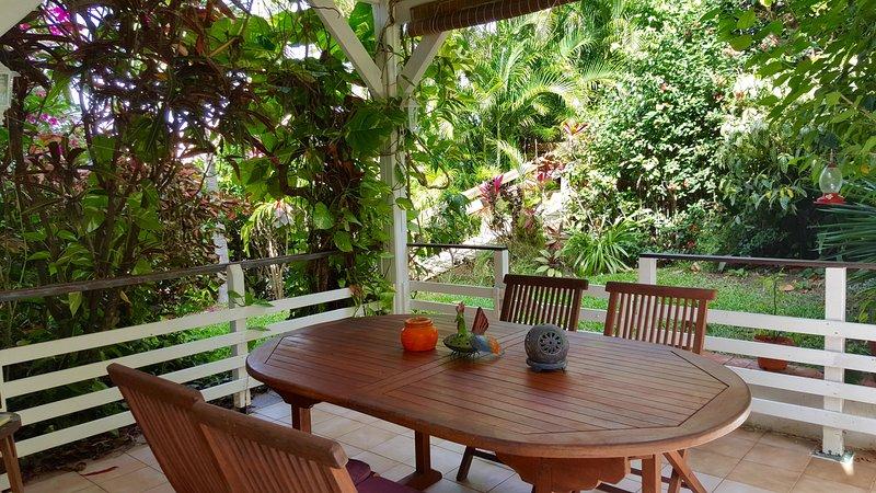 terrasse et jardin appartement PAPAY