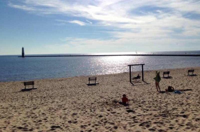 Frankfort beach with sunset swings and volleyball courts