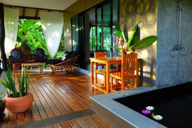terrace with outdoor bathtube