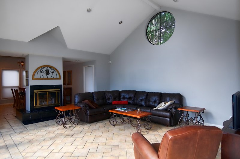 Living room has great seating with a sleeper sofa