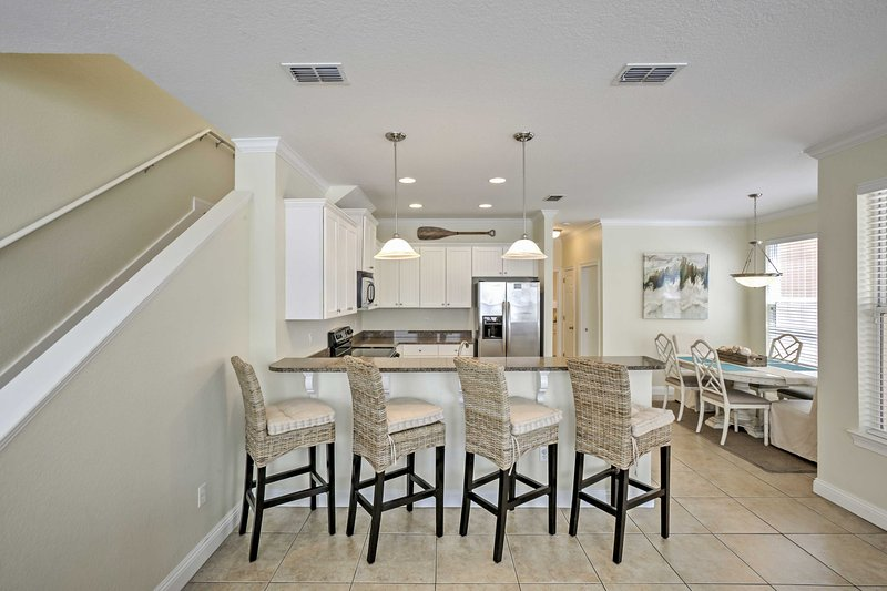With bar seating for 4 and a kitchen table, there is room for everyone to enjoy home-cooked meals.