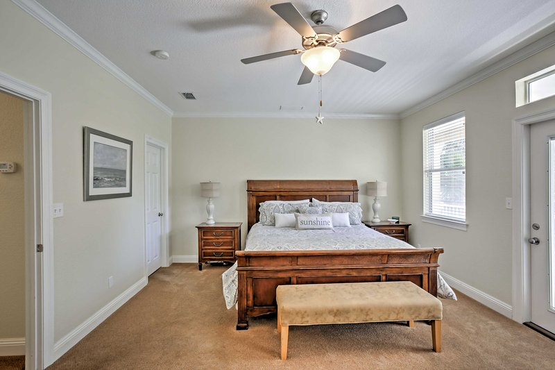 Those staying in the master bedroom will enjoy a king bed, access to the private balcony, and a large ensuite bathroom.