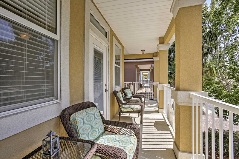 The private balcony offers lots of space to enjoy a refreshing beverage.