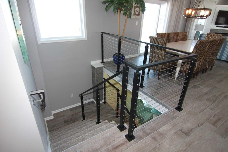 Large Dining Table Seats 8 Stairs to lower level